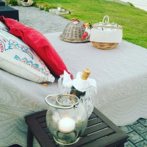 African Oceans - beach setup picnic bed with snacks